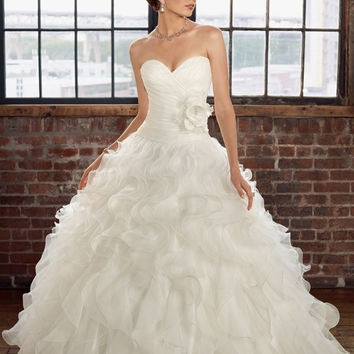 Blu by Mori Lee 4816 Ruffled Strapless Ball Gown Wedding Dress