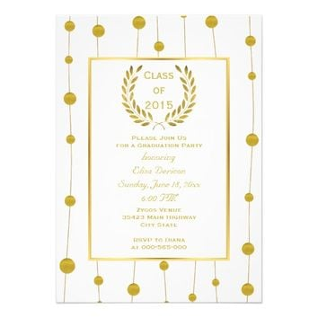 "Class of 2015 gold laurel wreath beads graduation 5"" x 7"" invitation card"