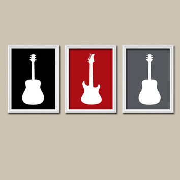 GUITAR Wall Art Boy Nursery Canvas Artwork Child Red Black Charcoal Gray Custom Colors Set of 3 Trio Prints Baby Decor Bedroom Three
