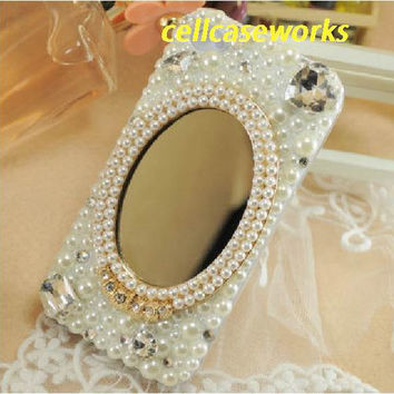 white Cute iPhone Case, Mirror Pearl Rhinestone deco cell phone case, unique iphone 5 case, iphone 4/4s case, iphone cover