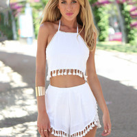 White Halter Backless Tassel Cropped Top and Shorts