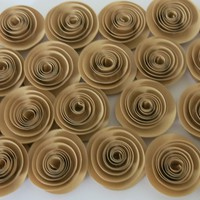 "Tan Paper Flowers Set of 25, Small Light Brown Roses, Buy in Bulk, Rustic Wedding Decor, Natural Earth Tone Color, Neutral 1.5"" Rosettes"