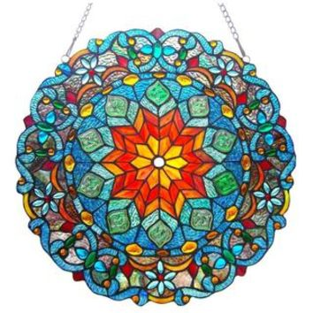Tiffany-Style Round Design Stained Glass Window Panel