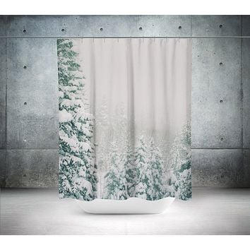 Snowy Forest Scene Shower Curtain