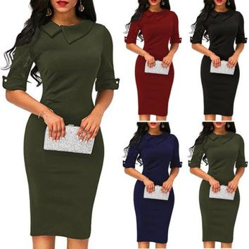 New Women Ladies Bandage OL New Fashion Peter Pan Collar Bodycon Plain Half Sleeve  Work Office Midi Dress