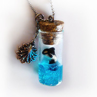 Orca in a bottle necklace, vial pendant, ocean in a bottle pendant