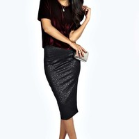 Aleesha Embossed Pencil Midi Skirt