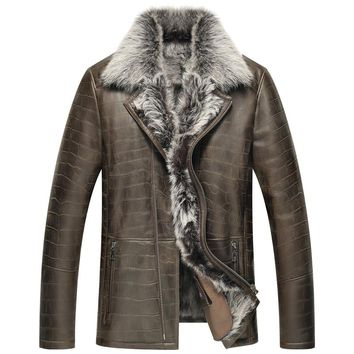 Leather Jacket Men Shearling Jacket  Men's Fur Coats  Luxury  Winter Sheepskin Coat Fur Parka TJ07