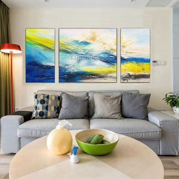 Abstract Painting Acrylic Painting Cuadros Original blue yellow painting 3 pieces wall art poster Canvas Art Wall Picture cuadros abstractos