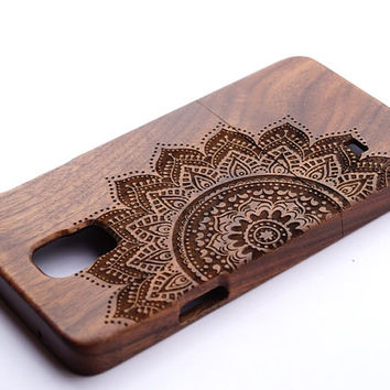 mandala Samsung Galaxy Note4 case, Wood Galaxy Note4 Case, for Wood Samsung Galaxy S3/S4/S5 case Engraved mandala case