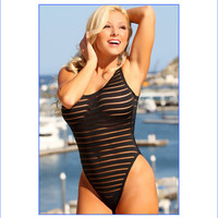 Sheer Stripes Double Dip One Piece