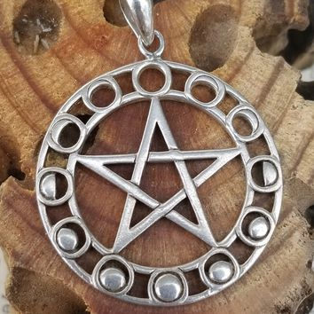 Moon phase pentacle sterling silver vintage pendant on sterling silver chain necklace