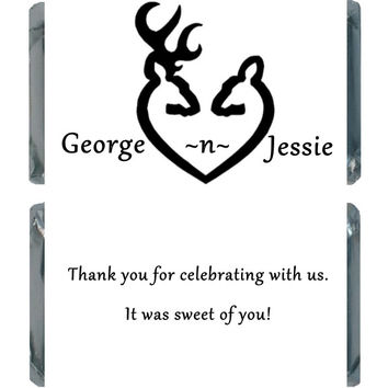 Black and White Buck and Doe Personalized Wedding Candy Labels