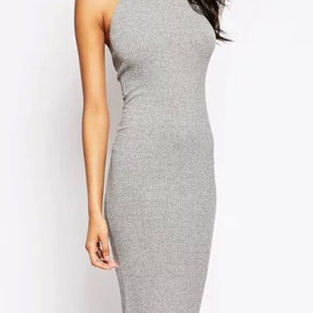 Grey Halter Backless Bodycon Midi Dress
