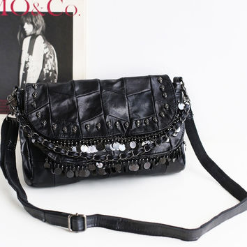 Leather Summer Chain Punk Strong Character Skull One Shoulder Bags [4915800132]