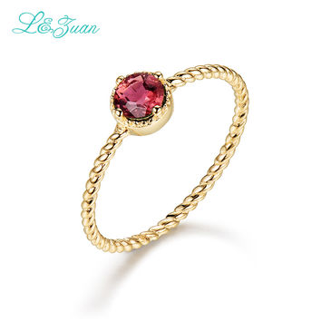 l&zuan 14K Gold Ruby Wedding Engagement Fine Jewelry For Women Braid Red Stone/Topaz/Emerald Rings