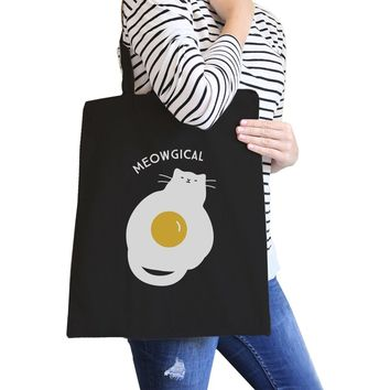 Meowgical Cat And Fried Egg Black Canvas Bags