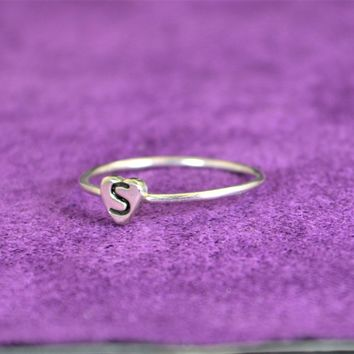 Initial Sterling Silver Heart Ring