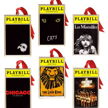 2012 Playbill Ornaments from the Broadway Cares Classic Collection - Set of Six