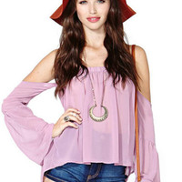 Lilac Off-Shoulder Long Sleeve Chiffon Shirt