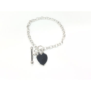 Italian Sterling Silver Heart Pull Through Toggle Clasp Bracelet for Women and Girls
