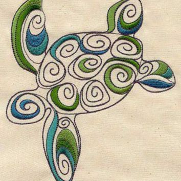 spiral turtle embroidered apron by MorningTempest on Etsy