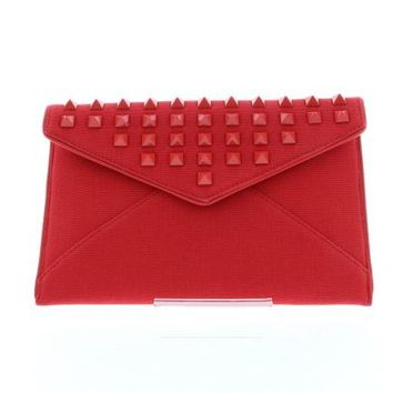 Red Studded Canvas Envelope Clutch