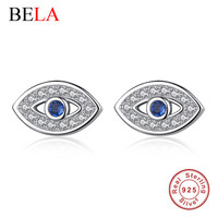 100% 925 sterling silver sapphire jewelry ocean blue Autrian crystal evil eye stud earrings for women