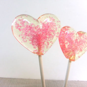 Heart Lollipops, Pink Wedding Favor, Party Favors, Baby Shower Favors, Heart Candy, Lollipops, Sweet Caroline Confections- SIX LOLLIPOPS