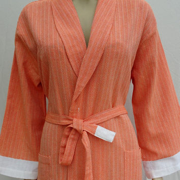 Orange colour little herringbone patterned soft cotton light weight long dressing gown, bathrobe with no hood.