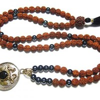 Saturn Shani Mala Black Onyx Rudraksha 108 Beads Necklace Pendant