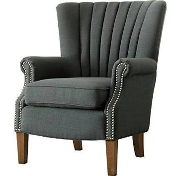 Essex collection dark grey woven fabric upholstered tufted back accent chair with nail head trim