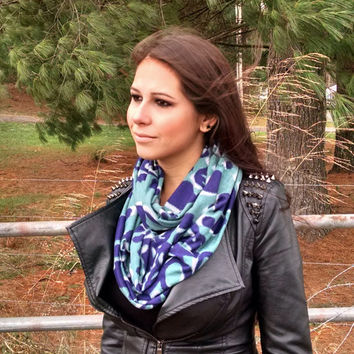 Animal Print Scarf Navy and Green Spotted Print Infinity Cowl