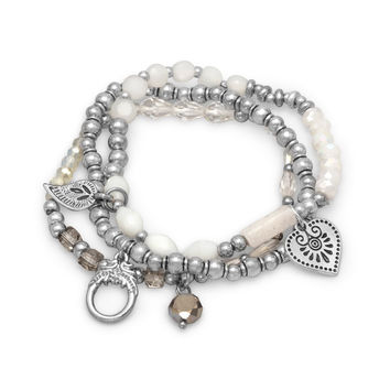 Silver Tone Stretch Charm Bracelets with White Agate Beads x 3
