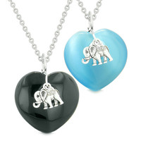 Lucky Elephant Charms Love Couples Best Friends Amulets Black Agate Sky Blue Simulated Cats Eye Necklaces