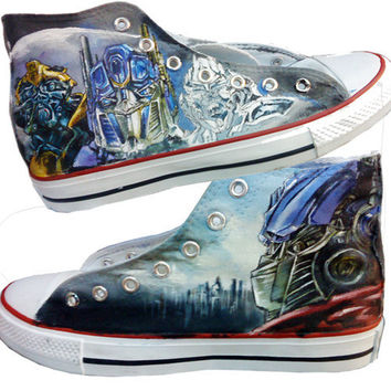 Transformers Converse Sneakers Handcraft Painting Shoes