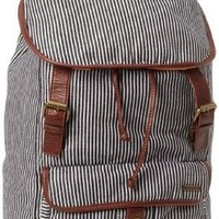 HURLEY WOMEN'S ONE AND ONLY STRIPE WITH BROWN FAUX LEATHER BACKPACK NEW WITH TAG