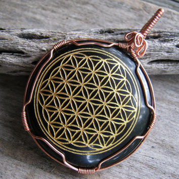Flower of Life Pendant, Black Obsidian Pendant, Sacred Geometry Pendant, Obsidian Jewelry, Copper Wire Wrapped Pendant, READY To SHIP