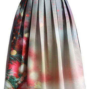 Merry Ornaments Print Midi Skirt