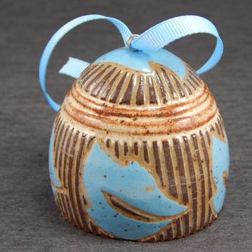 Ceramic ornament, sgraffito pottery, Christmas ornament, wheel thrown bell, leaf decor