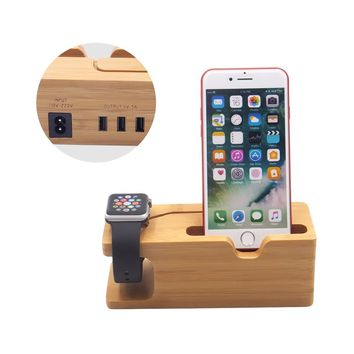 3 USB Charging Station , Blue Hole Bamboo Apple Watch Stand , Wood Organizer Dock for iPhone 8 / 7 / 6 / 5s & 38mm / 42mm Apple Watch Charger, Stand for Most Smart phones