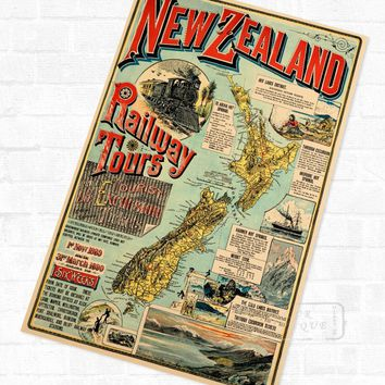 NZ New Zealand Map Maori Travel Vintage Poster Retro Canvas Painting DIY Wall Stickers Art Home Bar Posters Decor Gift