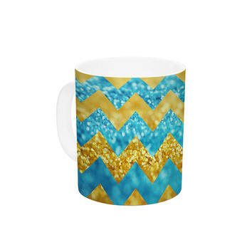 "Beth Engel ""Blueberry Twist"" Chevron Ceramic Coffee Mug"