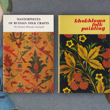 Masterpieces of Russian Folk Crafts, Khokhloma Folk Painting -- 32 Vintage Prints, Postcards (16x2 Complete Sets with covers) -- 1974, 1976