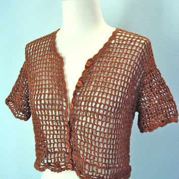 80s Crochet Crop Sweater Top Rusty Brown Small