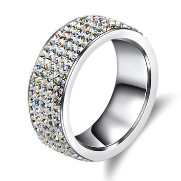 5 Row Crystal Stainless Steel Ring