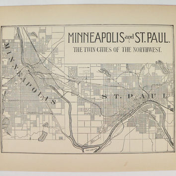 1896 Minneapolis Map St Paul Map, Twin Cities Map, Vintage Decor Twin Cities Art, Housewarming Gift for Couple, Twin Cities Gift