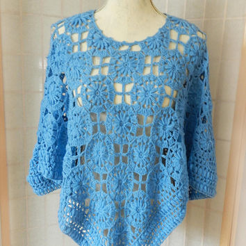 Vintage Pastel Blue Knit Poncho Cape, Open Stitch Crochet Poncho Sweater, Size S/M Knit  80's Fashion Poncho