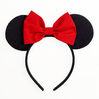 Mickey Mouse Ears Headband Minnie Mouse Ears Minnie Mouse Bow Mickey Ears Minnie Ears Halloween Costume Outfit Accessory Red Snow White Bow