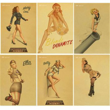 Retro poster World War II Sexy pin up Girl Poster Military Bar Cafe Home wall Decor Retro Kraft wallpaper vintage poster